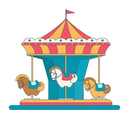 Colorful carousel with horses in flat style