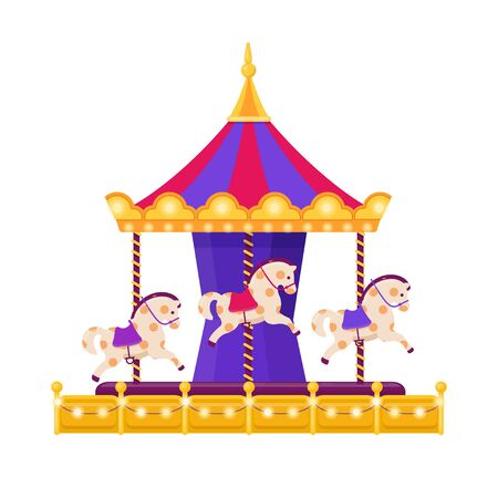 Colorful carousel with horses on white background 向量圖像