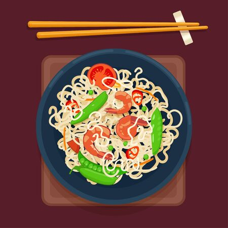 Chinese noodles with vegetables and shrimp. Top view