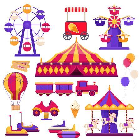 Amusement park elements. Ferris wheel, circus tent, carousels and etc. Flat vector illustration