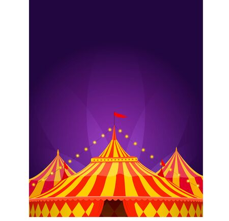 Circus tent in red and yellow colors with searchlight on purple background. Poster template. Vector illustration