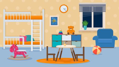 Kids room with neutral colors. Childrens bedroom interior with furniture and toys. Vector illustration in a flat style Vettoriali