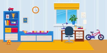 Modern interior of children s room with furniture and toys. Boys bedroom. Flat vector illustration 向量圖像