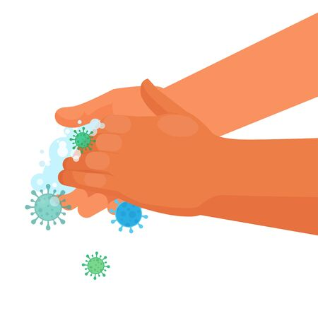 Hand washing with soap for disease and virus prevention. Global handwashing day concept. Vector illustration on white background