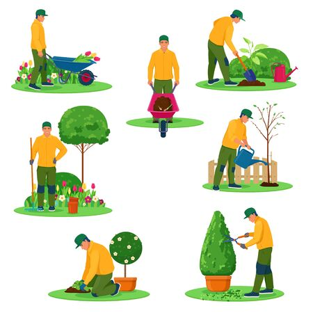 Set of characters of gardeners. Professional gardener working in garden with different tools. Vector illustrations on white background