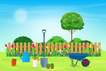 Garden landscape with garden tool, plants and wooden fence.  Garden tools on a green lawn. Vector illustration