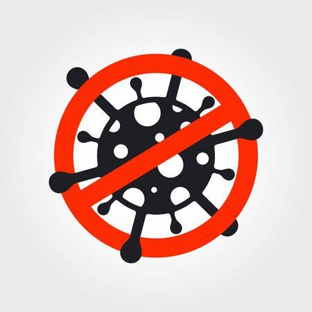 Stop sign with coronavirus icon. Caution coronavirus. Vector illustration 向量圖像