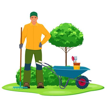 Professional gardener with garden tool on a background of green bushes. Vector illustration on white background 向量圖像