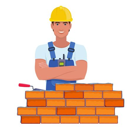 Bricklayer in a yellow helmet building a brick wall. Vector illustration in cartoon style  イラスト・ベクター素材