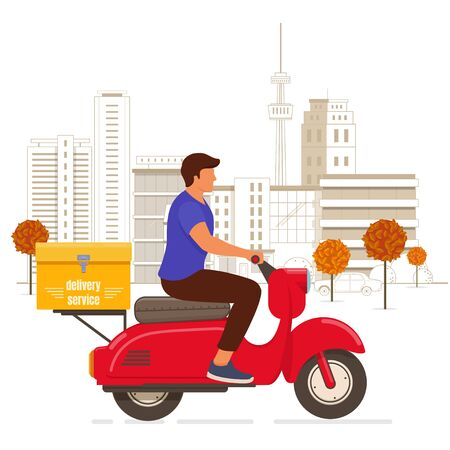 Delivery man riding a red scooter in the city. Food service concept. Flat design vector illustration