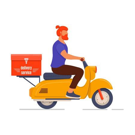 Young male courier delivers an order on a scooter. Food service concept. Flat design vector illustration 向量圖像