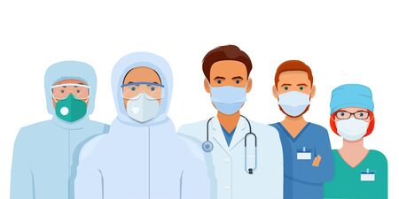 Group of doctors and nurses in protective suits, goggles and medical masks. Vector illustration on white background