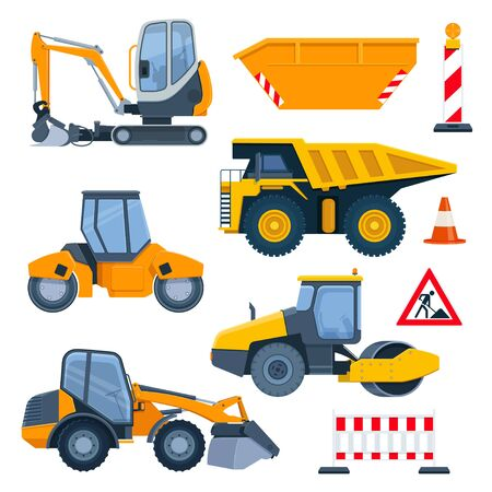 Road construction equipment. Excavators,truck, road rollers, road barrier, stop sign and traffic cone. Vector illustration on white background