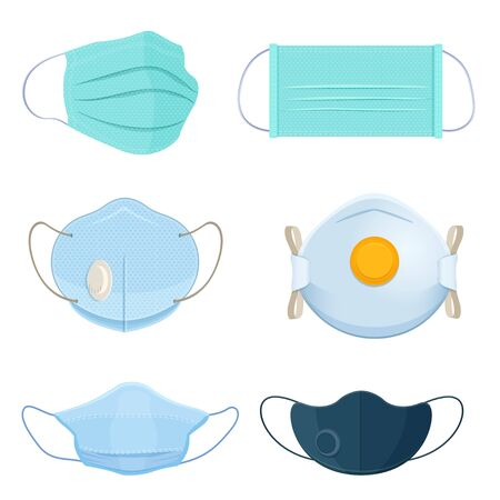 Set of different medical masks and respirators. Surgical protective masks. Vector illustration on white background