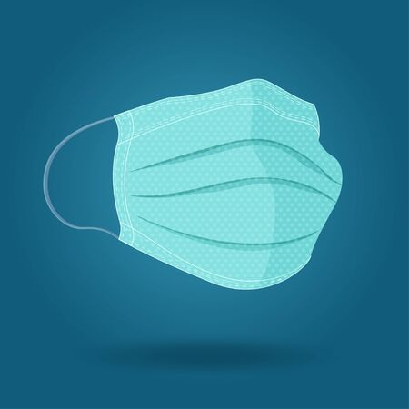 Surgical protective masks. Vector illustration on blue background