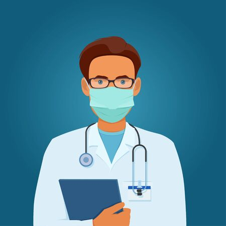 Male doctor in medical mask and glasses with stethoscope holding a folder in his hands. Vector illustration on blue background
