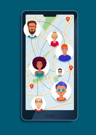 Avatars of people on a map in a app on phone. Social network and internet communication concept. Flat vector illustration