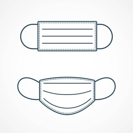 Simple protective medical face mask icon 向量圖像