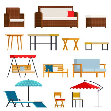 Set of simple rattan and wooden garden furnitures. Vector flat illustration on white background