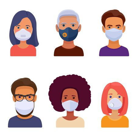 Set of man and woman characters in medical face mask of various shapes in a flat style. Vector flat illustration on white background
