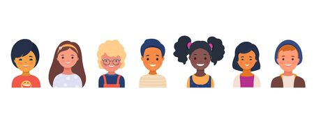 Set of smiling kindergarten kids characters. Preschool children of different races. Little boys and girls cartoon avatars. Vector illustration in flat style 向量圖像