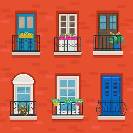 Facade of a building with old-fashioned forged balconies. Wrought iron balconies decorated with flowers. Vector illustration