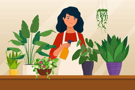 Cartoon character of young woman caring for houseplants. Houseplant hobby. Vector illustration in flat style