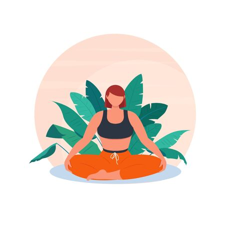 Sporty woman meditating sitting in lotus position against the background of tropical plants. The concept of meditation, yoga and healthy lifestyle. Vector illustration in flat style
