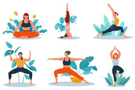 Young women doing yoga exercise against the background of exotic plants. Healthy and wellness lifestyle. Flat vector illustration on white background 向量圖像