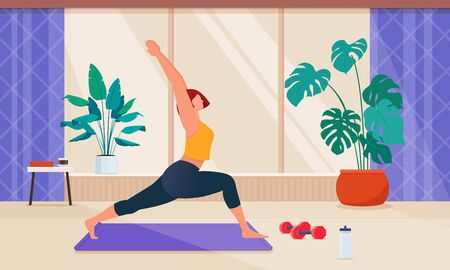 A woman does sports exercises on a gymnastic mat in living room. At-home fitness workout. Healthy and active lifestyle in isolation or quarantine. Flat vector illustration