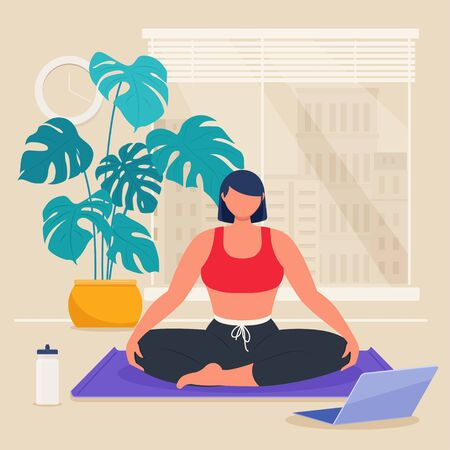 Young athletic woman meditating sitting in lotus pose in the living room with online instructor. Workout classes at home. Home activity concept. Flat vector illustration 向量圖像