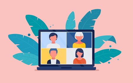 Virtual meeting via video conference on a laptop screen. Conference video call, work at home. Vector flat illustration 向量圖像
