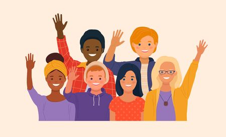 Group of smiling multicultural people standing together and waving hands. Young men and women cartoon characters. Vector illustration in flat style