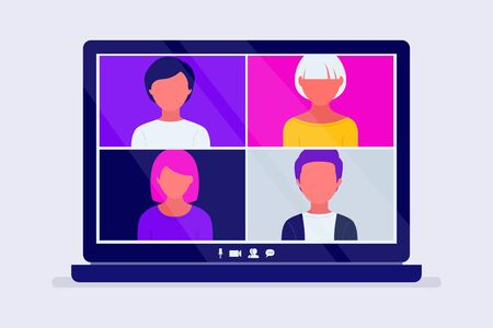 Video conference call on the computer screen. People participate in video conferencing and online meeting. Working from home. Flat vector illustration 向量圖像