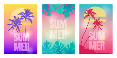 Colored summer backgrounds with palm trees and tropical plants.  Templates for invitations, cards, banners, etc. Vector Illustration