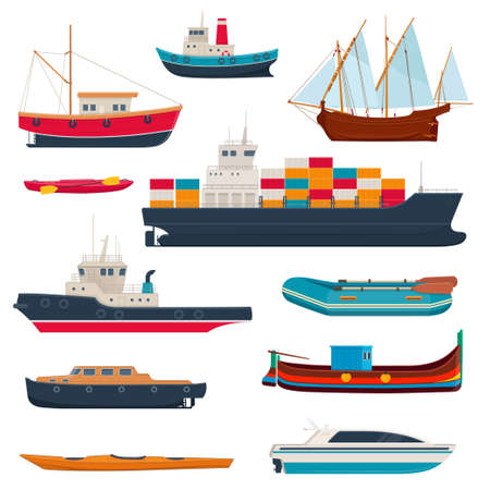Set of different ships and boats. Water transport. Fishboat, sailing ship, kayak, cargo ship,  yacht, maltese fishing boat and etc.  Vector illustration on white background