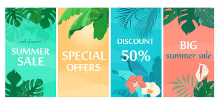 Summer sale backgrounds with tropical leaves and flowers. Template for sales promotion. Vector illustration