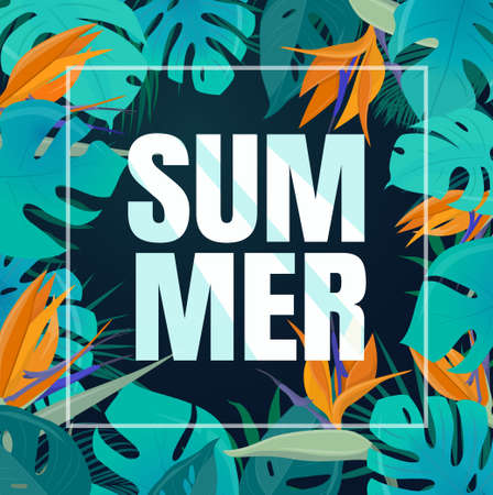 Summer background with green tropical leaves and  flowers. Exotic botanical template for invitations, cards, banners, etc. Vector illustration