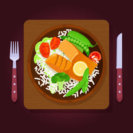 Two piece of grilled salmon steaks with rice and vegetables on wooden background. Top view. Vector illustration