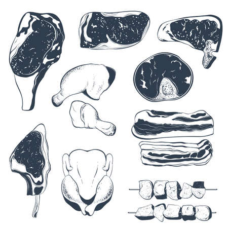 Set of different types of meat . Beef steak, chicken legs, lamb shank, bacon and shish kebab. Hand drawn vector illustration