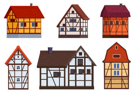 Set of half timbered houses on white