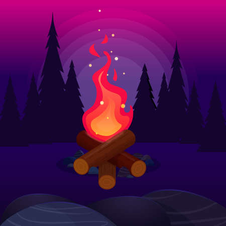 Bonfire with flying sparks in the night forest. Bright campfire. Vector flat illustration