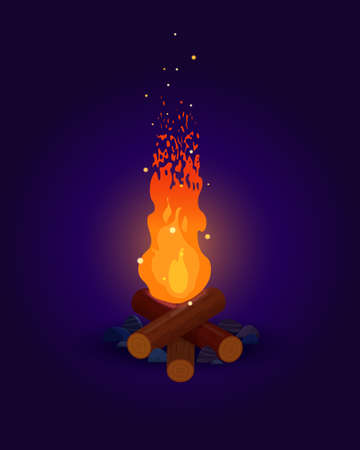 High bonfire with flying sparks on a dark blue background. Bright campfire at night. Vector flat illustration