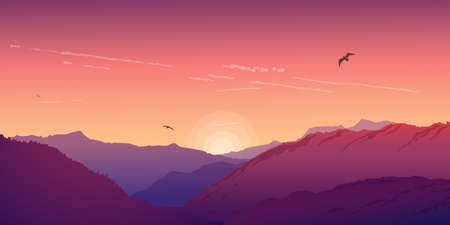 Mountain landscape under a purple morning sky. Dawn in the mountains. Vector illustration