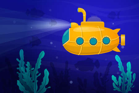 Yellow submarine underwater surrounded by fish and algae. Submarine explores the seabed. Vector flat illustration