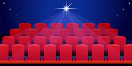 Rows of red seats in the empty cinema hall in the dark. Bright spotlight in the background. Vector illustration