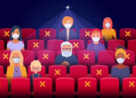 Social distancing in the cinema after the quarantine period. Spectators wearing face masks sit as they keep a safe distance and watching movie in cinema hall. Vector illustration