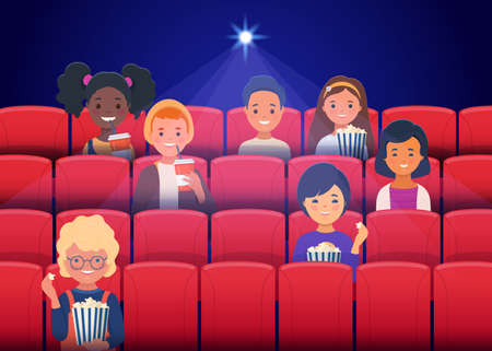 Little kids watching a movie in the movie theater and eating popcorn. Flat cartoon vector illustration
