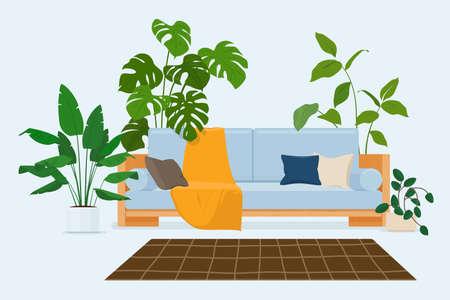 Cozy modern scandinavian interior with sofa