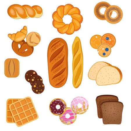 Set of various bakery products on white